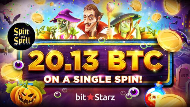 ビットスターズ (bitstarz)のスロット『Spin and Spell』で20.13BTCの高額賞金が炸裂!(2019年10月21日)