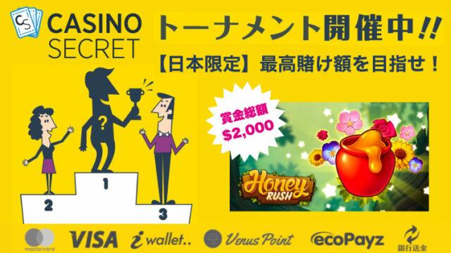 カジノシークレット(CASINOSECRET)のトーナメント『【日本限定】最高賭け額を目指せ!』(2019年12月16日〜20日)