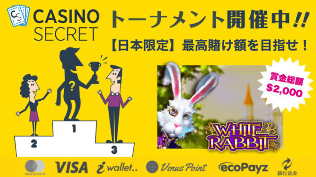 カジノシークレット(CASINOSECRET)のトーナメント『【日本限定】最高賭け額を目指せ!』(2020年2月15日〜20日)
