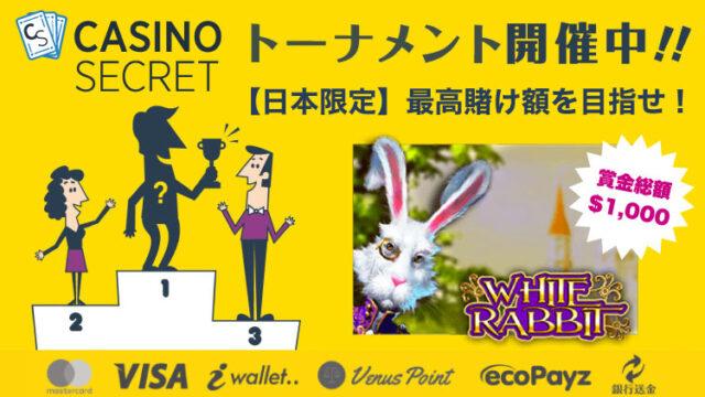 カジノシークレット(CASINOSECRET)のトーナメント『【日本限定】最高賭け額を目指せ!』(2020年3月4日〜7日)