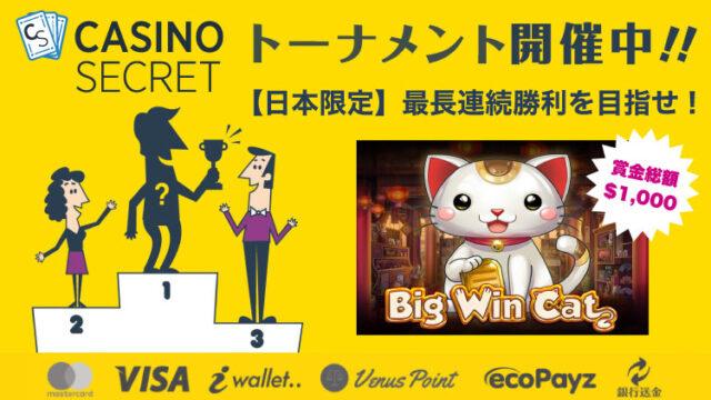 カジノシークレット(CASINOSECRET)のトーナメント『【日本限定】最長連続勝利を目指せ!』(2020年4月27日〜30日:対象スロット『BigWinCat』)