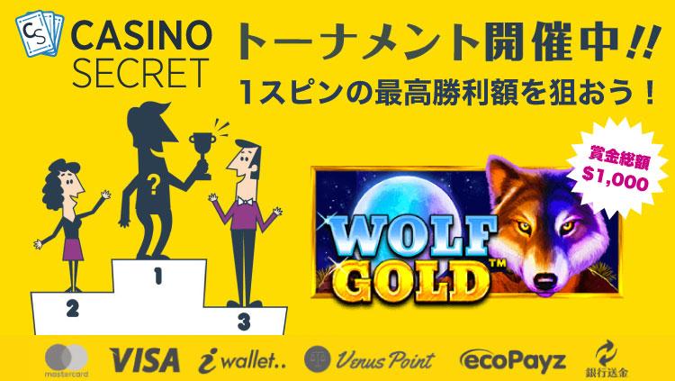 カジノシークレット(CASINOSECRET)のトーナメント『【日本限定】1スピンの最高勝利額を目指せ!』(2020年5月21日〜24日:対象スロット『WOLF GOLD』)