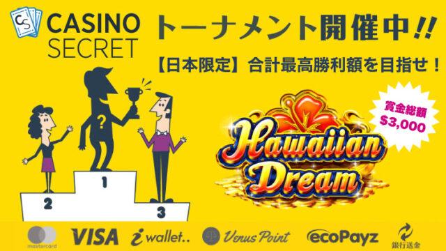 カジノシークレット(CASINOSECRET)のトーナメント『【日本限定】合計最高勝利額を目指せ!』(2020年6月6日〜12日:対象スロット『HawaiianDream』)